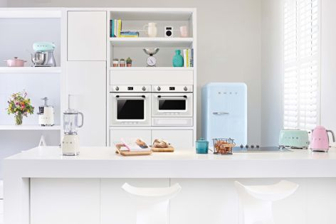 Smeg Victoria appliances reference 1950s style while embracing twenty-first-century technology. Photography: Nicholas Yarsley