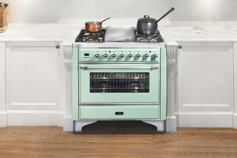An Ilve oven in Aqua Green. Other colours include Pastel Orange and Heather Violet.