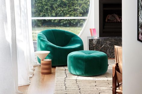 The Pumpkin chair and ottoman by Ligne Roset are developed at the company's factories. Photography: Sean Fennessy.