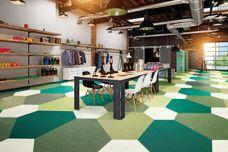 Versatile: Woven vinyl shapes from GEO Flooring