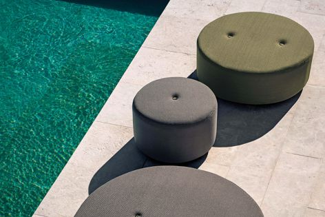 Available from Domo, the Double collection offers lightweight outdoor seating that dries quickly. The collection includes poufs (pictured), sofas, armchairs and chairs.