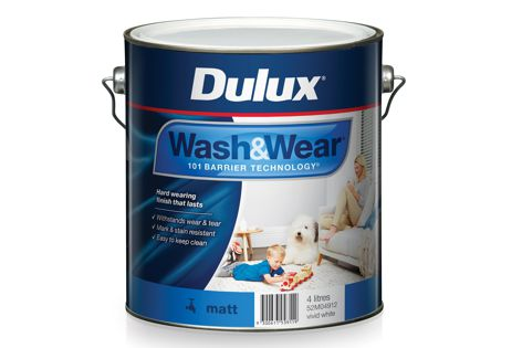 On surfaces painted with Dulux Wash & Wear Matt, stains and marks can be easily removed with a soft, damp cloth.