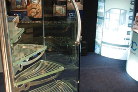 The Lucinda stair, by Bent and Curved Glass and Enzie Stair Design, at DesignBuild 2009.