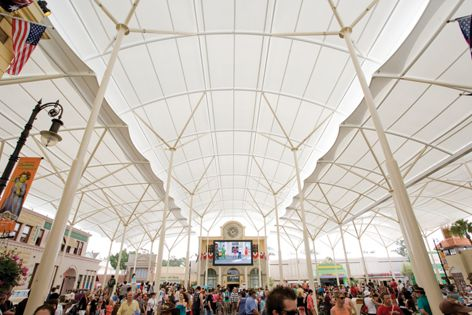 A Makmax tensile membrane structure at Movie World in Queensland.