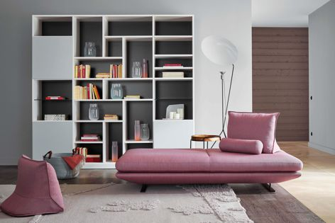 The Prado sofa alongside Ligne Roset's Robin rug, Solveig lamp, Mazargues occasional table and Charmotte basket.