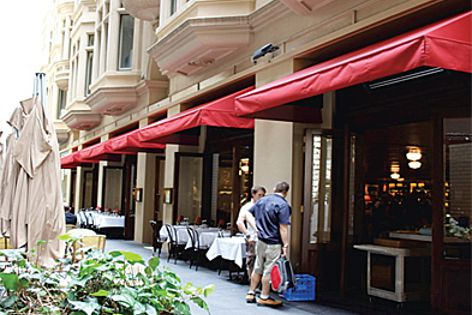 Alto FR awning fabric in use at Ash St Cellar in Sydney.