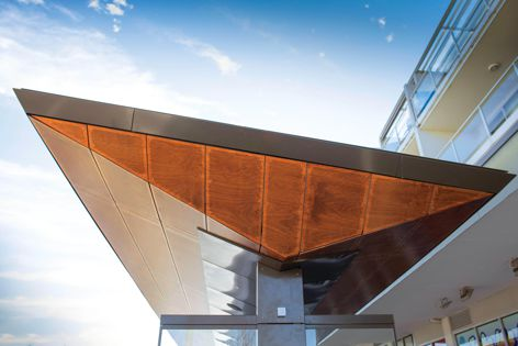 The shelter at Gungahlin Bus Station features a perforated plywood soffit, designed by Stoddart.