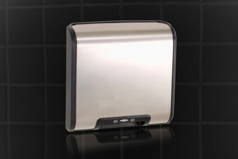 A dual-flow parallax air duct design makes the Bobrick Trimline hand dryer quiet and fast.