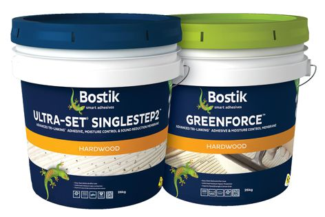 Bostik's Ultraset SingleStep2 and Greenforce timber flooring adhesives from the Axios range.