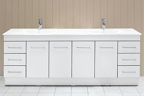 Raymor vanities have been improved by  a coloured strip around the edges of the doors and drawers.