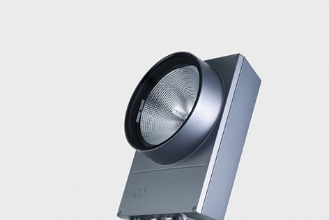 The energy-efficient Powercast light can floodlight facades and outdoor signage.