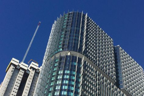 Barangaroo International Tower 2 in Sydney features Horiso solar control systems. Architect: Rogers Stirk Harbour + Partners.