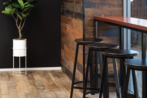 Havwoods' Genuine Reclaimed Oak Rill was used as cladding at Whiskeez Bakehouse, designed by Tracy Zorich Interior Studio. Photography: Adrian Tan Photography.