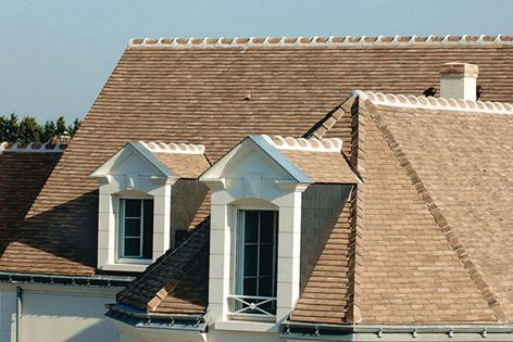 Cauzac's Ocre Vieilli shingle tiles (specified at 60/m2).