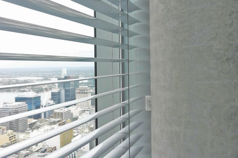 161 Castlereagh Street: integrated motorized Horiso External Venetian Blinds with optional wall switch control.