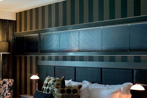 Vertilux EasyTilt Midnighter 25 mm venetian blinds specified for rooms in Brisbanes Emporium Hotel.