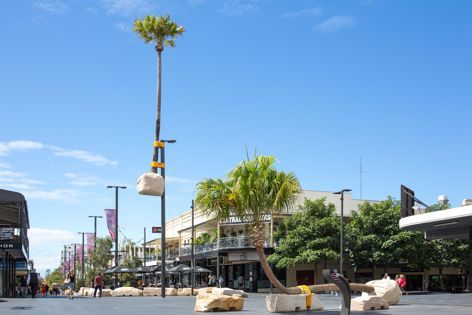 2018 keynote speaker Mike Hewson designed a playground incorporating sandstone rock formations and palm trees for a Wollongong mall. Image: Mike Hewson.