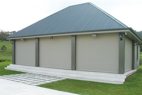 Maxiblock roller shutters provide protection in bushfire conditions.