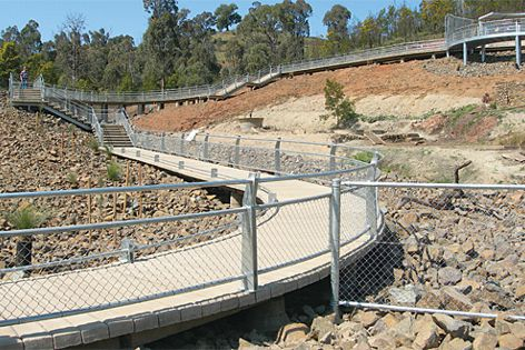 Gently graded sections of Rocla PermaTrak concrete boardwalk around the ACT's Cotter Dam.