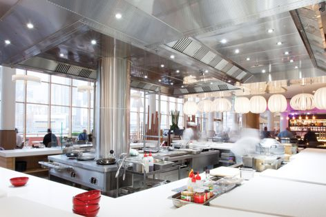 Two open kitchens in The Ternary restaurant feature Halton Ventilated Ceiling solutions by Stoddart. The solutions capture and extract cooking odours and smoke while blending with the design of the interior.