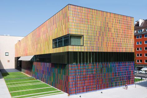 This colourful effect was achieved using NBK Architectural Terracotta Facade Systems.