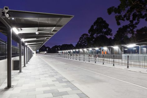 Stoddart Infrastructure's contribution to the Gordon Station Interchange upgrade in New South Wales includes large-span cantilevered shelters that provide direction and protection for public transport users.