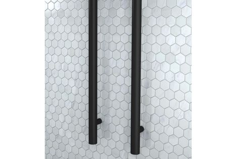The Uno towel rail is ideal for use in bathrooms with limited wall space.