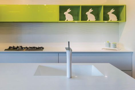 Single, double or a series of sinks can easily be installed with Corian®, allowing the creation of unique designs.