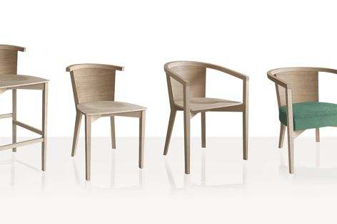 The Verona collection consists of a side chair, armchair, stool and casual chair.