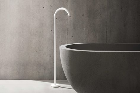 Vola's 090FM floor-mounted bath spout is now available in the matt white finish, colour 28.