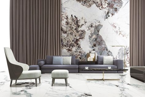 The Snow Mountain Silver Fox pattern is part of the Kaolin Tiles Showpiece collection of porcelain tiles.