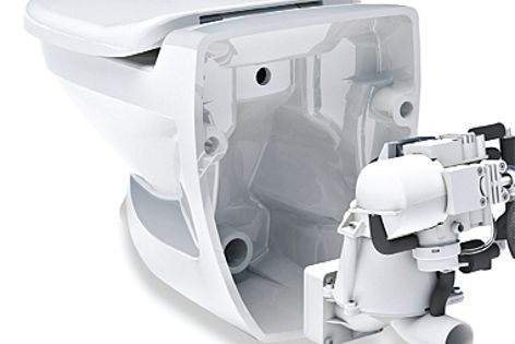 The Jets Vacuum toilet saves water and allows total design flexibility.