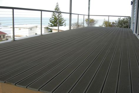 Maintainence-free Eco-Profil decking is made from a recycled wood-plastic composite.