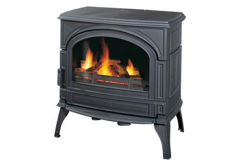 A Cheminees Seguin Duteriez Topaze freestanding cast iron fireplace in colour 'Noir.'