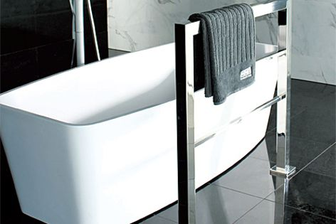 The Toko rail's design includes a square tube for a linear look.