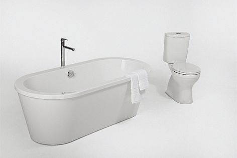 Bianco freestanding bath and Andorra toilet from Adesso.
