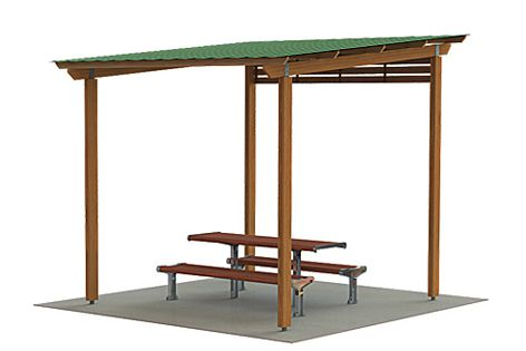 The Park shelter is made from sustainable materials such as manilkara and livos.