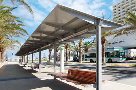 The 27-metre-long shelter incorporates the Evo Walkway design, custom seating, integrated lighting and drainage facilities.