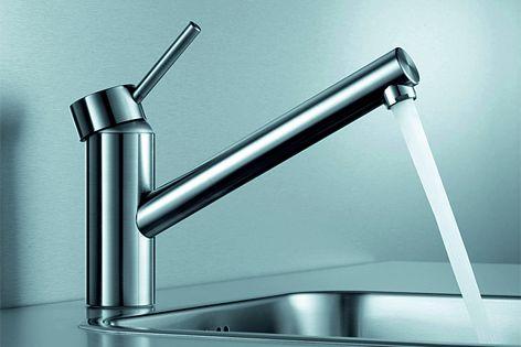 A swivelling spout ensures flexibility in KWC's Inox kitchen mixer.
