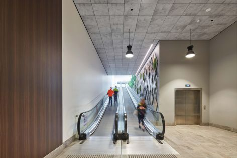 Opus ceiling tiles and wall panels by CSR Himmel achieve the look of concrete while offering great acoustic performance.