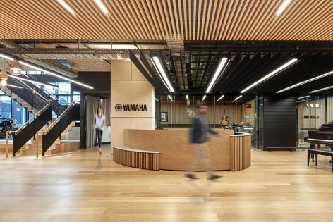 The Yamaha office in Melbourne by Studiomint features Havwoods' 'Oak Prime Unfinished' flooring. Photography: Peter Clarke Photography.