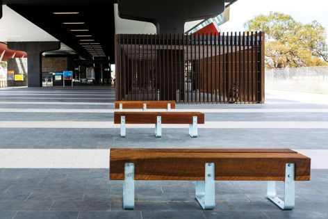 Working alongside the architects, Stoddart created bespoke timber seating for the project. Photographer: Michael Findlay.