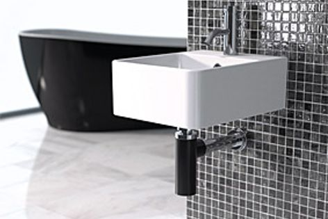 The Caroma Eco Bottle Trap is now available in Noir (black), pictured, and Blanc (white).