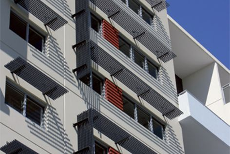 Type HC603 screens shade Rouse Hill's residential towers.
