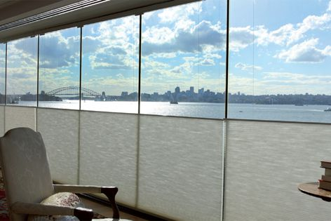 Top or bottom opening enables the Vertilux Pleated/Duopleat system to balance views with a high degree of privacy.