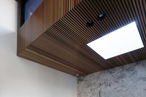 Castellation interior cladding from CSR Himmel brings the warmth of Western red cedar indoors.