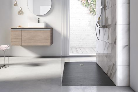 Cyprus Stonex shower floor by Roca has an organic, natural feel.