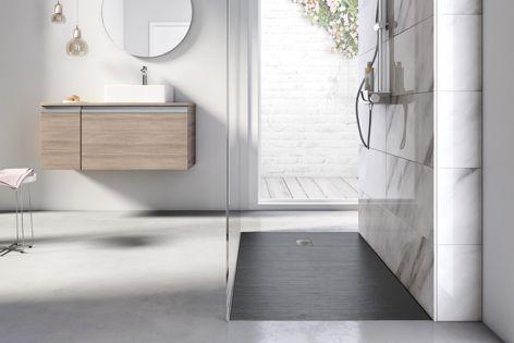 Cyprus Stonex shower floor by Roca has an organic, natural feel.