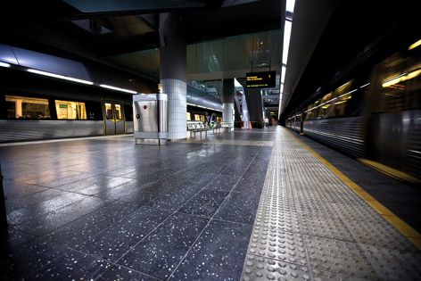 The Metrorail Concourse at Perth's Southern Railway is paved with UrbanStone.