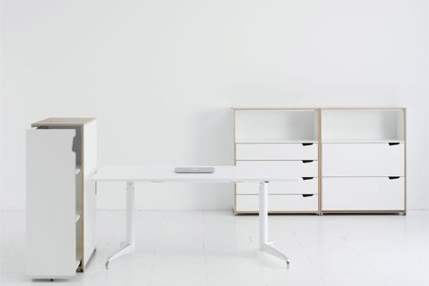 The Genese system is a multi-option range of tables, desks and storage modules.